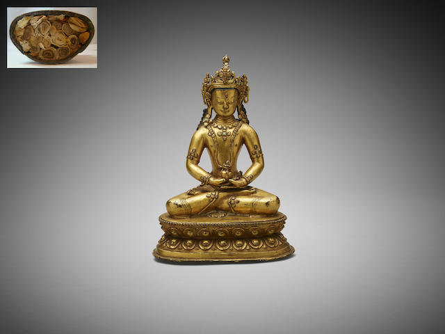 A gilt bronze figure of Amitayus Tibet, 16th to 17th century