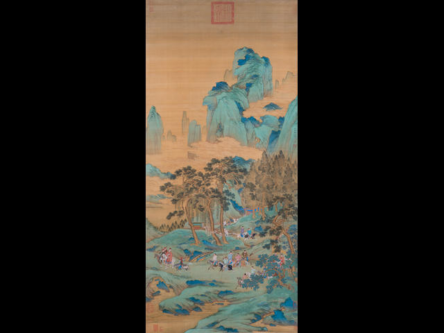 Attributed to Qiu Ying (ca.1482-1559) Hunting in Spring