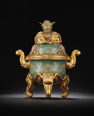 An exceptional Imperial gilt-bronze and cloisonné enamel 'elephant' tripod incense burner and cover Qianlong (3)