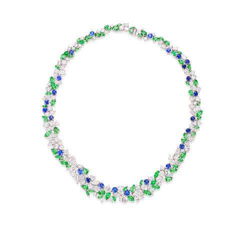 A Diamond, Sapphire and Tsavorite Garnet Necklace, by Alexander Laut