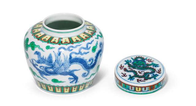 A very rare Imperial Ming-style doucai 'dragon' jar Yongzheng six-character mark and of the period (3)