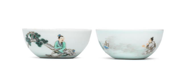 Two very rare enamelled 'scholar and fisherman' wine cups Yongzheng six-character marks and of the period (2)
