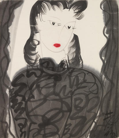 Lin Fengmian (1900-1991)  A Beauty with Red Lips