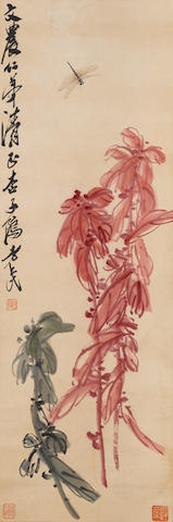 Qi Baishi (1864-1957)  Dragonfly and Flowers