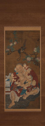 Attributed to Hu Qiubi  Arhat and Children