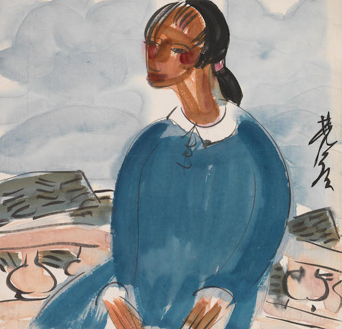 Lin Fengmian (1900-1991)  Girl in Blue Blouse