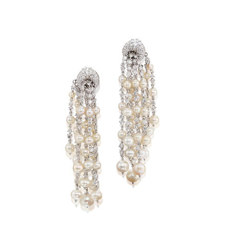 A Pair of Pearl and Diamond Pendent Earclips, by Michele della Valle