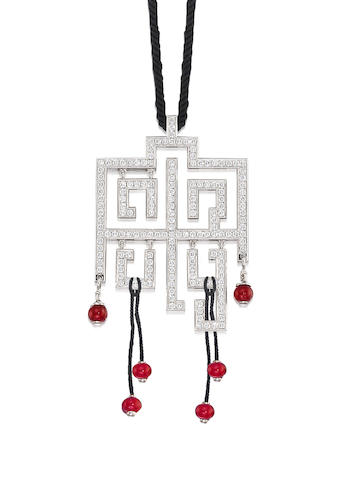 A Ruby and Diamond 'Le Baiser du Dragon' Pendant, by Cartier