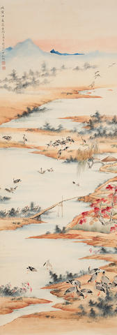 Wu Qingxia (1910-2008) Geese over the Autumn River