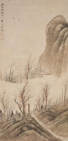 Zhu Wenzhen (1717-1777) Temple in the Autumn Mountains