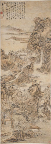 Attributed to Shixi (1612-1674)  Dwelling in the Mountains
