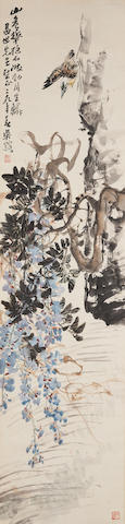 Wu Fuzhi (1900-1977) Wisteria and Bird by the River