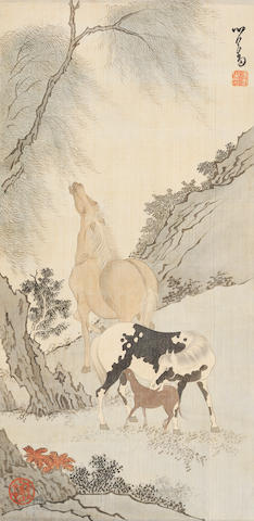 Pu Ru (1896-1963) Horses by the Willow Tree