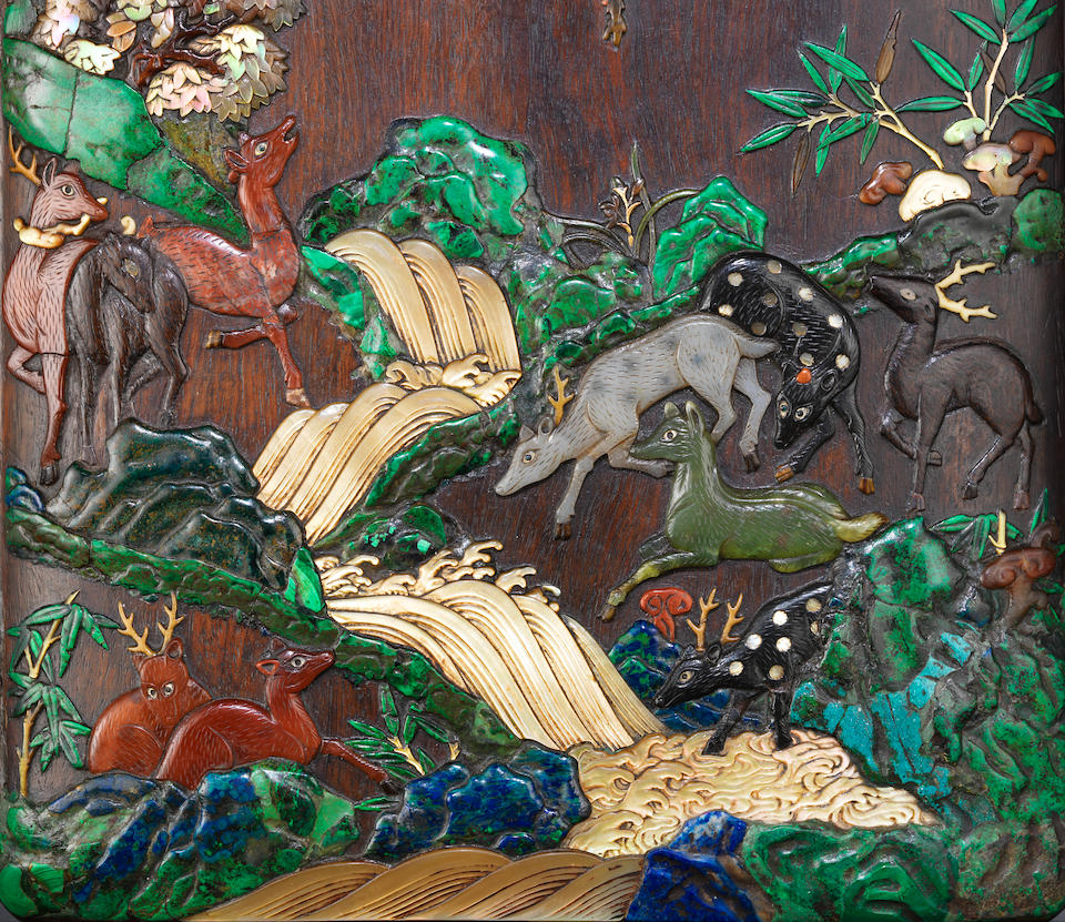 An exceptional finely-inlaid 'hundred deer' zitan box and cover Kangxi (3)