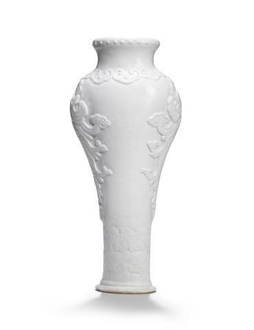 A rare soft-paste white-glazed vase Qianlong