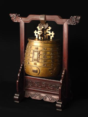 A rare Imperial gilt-bronze archaistic ritual bell, bianzhong Qianlong mark and of the period, dated to the 10th year, corresponding to AD 1745 (2)