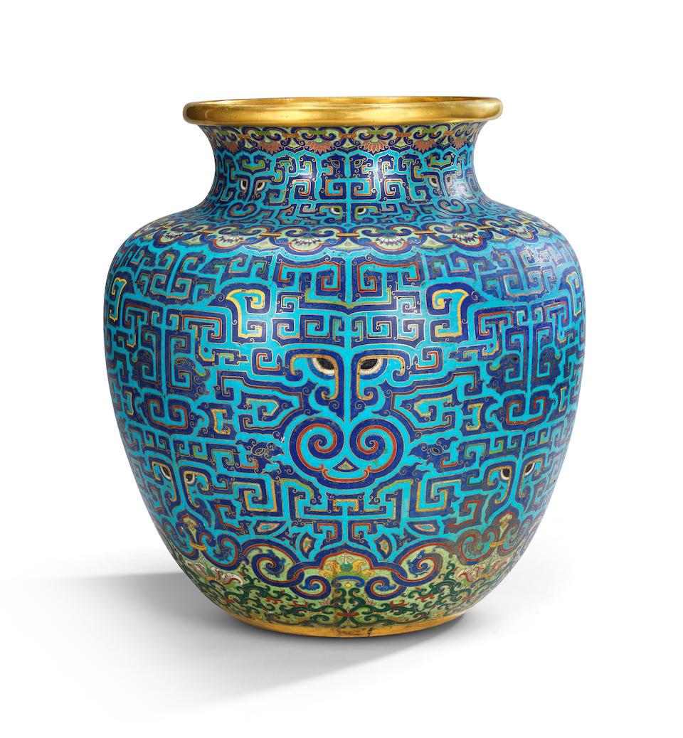 A rare and large Imperial archaistic gilt-bronze and cloisonné enamel vase, zun Qianlong