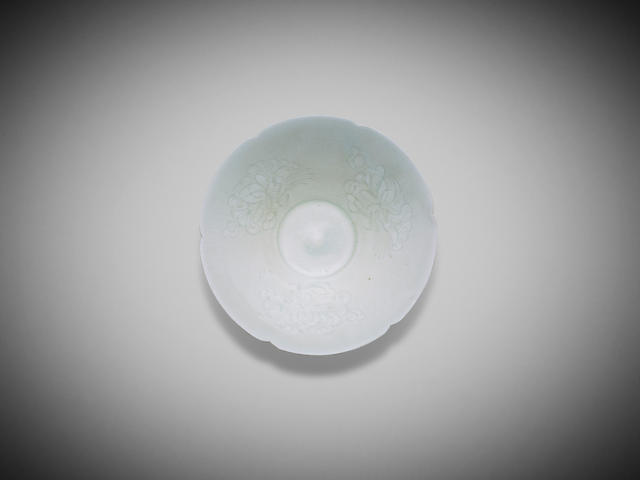 A Chinese lobed and carved qingbai foliate dish 12th century