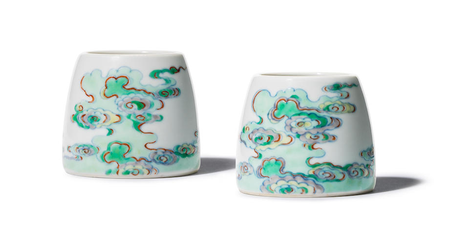 A pair of exceptionally rare Imperial doucai waterpots Yongzheng six-character marks and of the period (4)