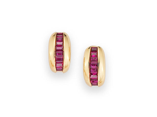 A Pair of Ruby Earrings, by Cartier