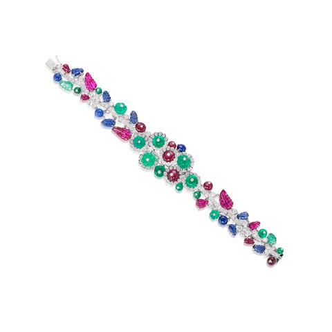 A Gem-set and Diamond 'Tutti Frutti' Bracelet