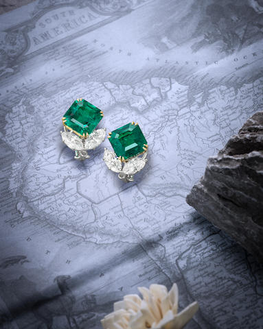 A Fine Pair of Emerald and Diamond Earrings, by Harry Winston