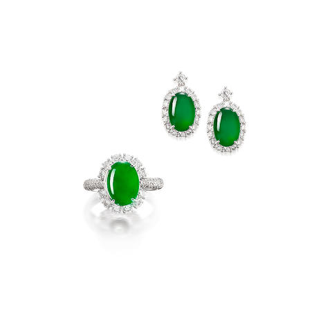 A Jadeite and Diamond Earring and Ring Suite (2)