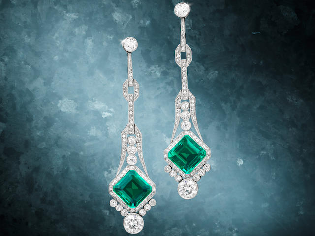 An Early 20th Century Pair of Fine Emerald and Diamond Pendent Earrings,