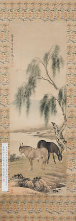 Ma Jin (1900-1970)  Two Donkeys Under the Willow Tree