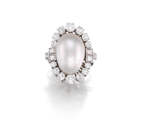 A Cultured Pearl and Diamond Ring, by Bulgari