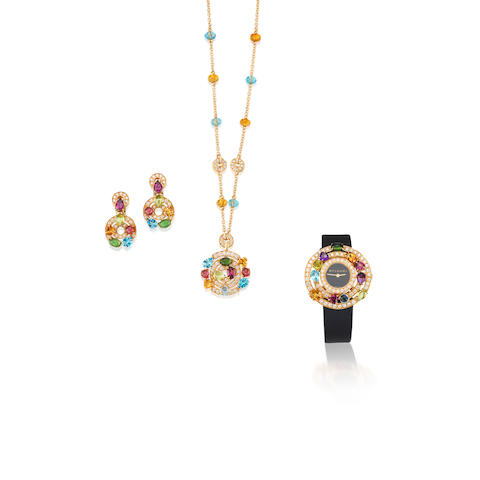 A Gem-Set and Diamond 'Astrale' Pendant, Earring and Wristwatch Suite, by Bulgari, (3)
