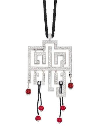 A Ruby and Diamond 'Le Baiser du Dragon' Pendant, by Cartier