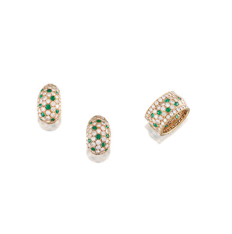 A Pair of Emerald and Diamond Earclips and Ring, by Cartier (2)