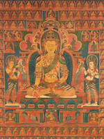 A THANGKA OF RATNASAMBHAVA TIBET, 15TH CENTURY