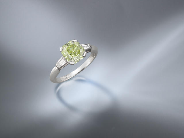 A Fancy Coloured Diamond and Diamond Ring, by Van Cleef and Arpels