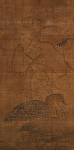 Previously Attributed to Zhang Yuehu (late 13th ce) and Huichong (965-1017) Water and Moon Guanyin; Pair of Ducks and Reeds (3)