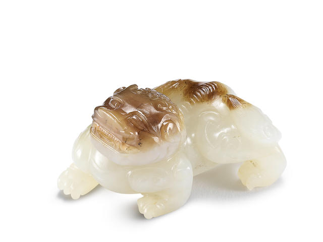 A white and russet jade carving of a chimera Ming Dynasty (2)