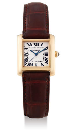 Cartier, A Yellow Gold 'Tank' Centre Seconds Automatic Wristwatch with date, with box and certificate