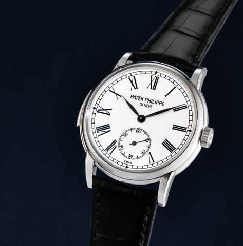 Patek Philippe, A Platinum Automatic Minute Repeating Wristwatch with Enamel Dial, Ref. 5078P with box and certificate, case back and swing tag