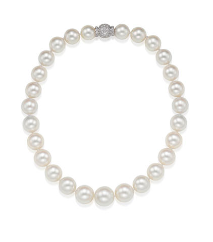 A Cultured Pearl and Diamond Necklace, by J. Stella