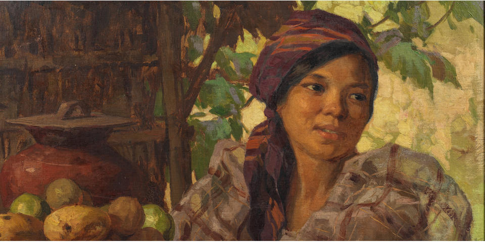 Fernando Cueto Amorsolo (Filipino, 1892-1972) Maiden with Fruits, 1930