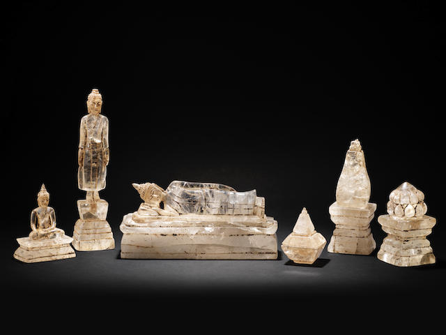 A GROUP OF SIX CARVED ROCK CRYSTAL BUDDHIST SCULPTURES Thailand, Ayutthaya period, 17th century.