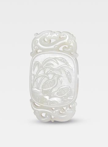A superb white jade 'quails' pendant Inscribed Zigang, Qianlong