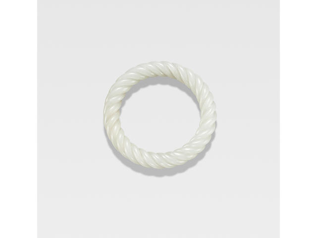 A fine white jade rope-twist bangle 18th century
