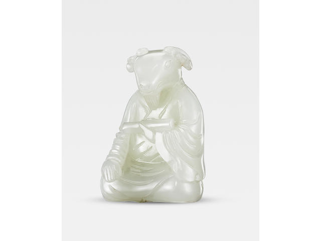 A rare white jade zodiac figure of a goat Qianlong