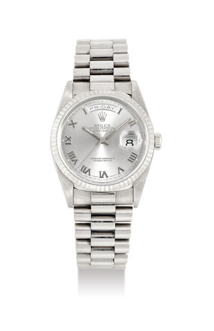 Rolex, A 18K White Gold Oyster Perpetual Day-Date Wristwatch, No. 18239-T411140, with ceritificate