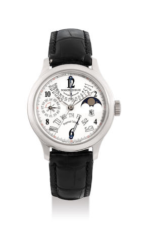 Roger Dubuis, A 18K White Gold Perpetual Calendar Wristwatch with Moon-Phases, No. 01/28, with certificate