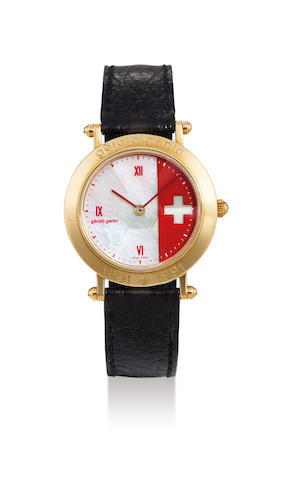 Gerald Genta. A Rare Limited Edition Yellow Gold Wristwatch with Mother-of-Pearl and Red Enamel Dial, Made to Commemorate the 700th Anniversary of the Nation of Switzerland