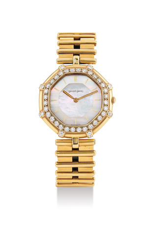 Gerald Genta. A Yellow Gold and Diamond Set Bracelet Watch with Mother-Of-Pearl Dial and Middle Eastern Royal Crest