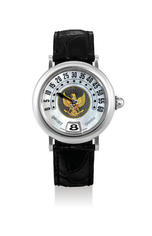 Gerald Genta. A Rare Limited Stainless Steel Retrograde Jump Hour Wristwatch with Mother-of-Pearl Dial